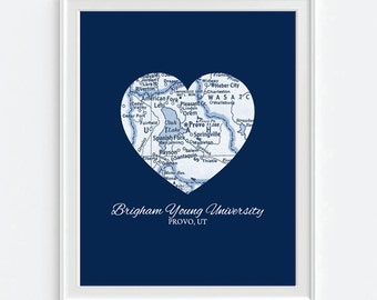 BYU Cougars Brigham Young University Provo Utah Vintage Heart Map  ART PRINT, Christmas Valentines Day gift for her, man cave, gift for him