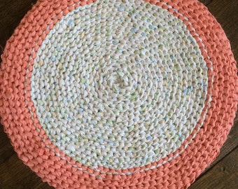 Pastel Pink and White Rag Rug