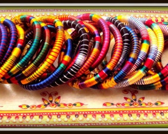 6 multicolor silk thread wrap bracelet bangle india