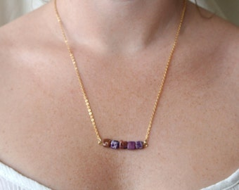 Square marbled bead necklace on delicate gold chain