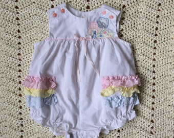 Vintage Baby White Ruffle with Rainbow Ruffle Bum