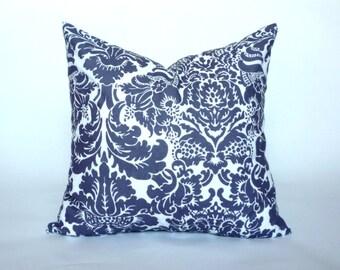 "Dark Purple and White Demask Pillow Cover, Decorative Throw Pillow, Accent Pillow, Pillow Sham, Pillow Case, 14x14"", 16x16"""
