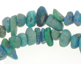 Wire chips beads Azurite chrysocolla - 42cm necklace