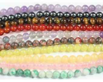 64 Meli Melo Mix of stones thin 6mm round beads