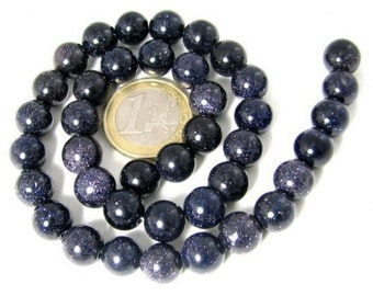 95 round beads 4 mm blue sun stone glitter wire