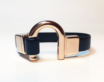 Made to Order Navy Blue Italian Leather Bracelet