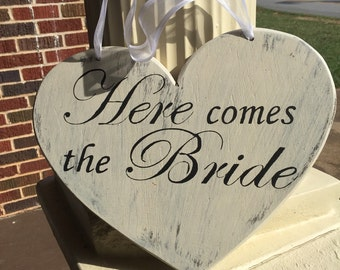 Handmade hand painted distressed wood heart sign Here Comes the Bride, distressed wedding sign, rustic wedding, wedding heart sign