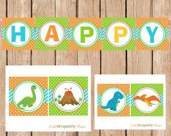 Dinosaur Boy Happy Birthday Banner, DIY, Instant Download