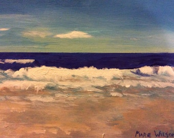 Small original acrylic painting by Marie Wilson-Lago titled. By the Sea