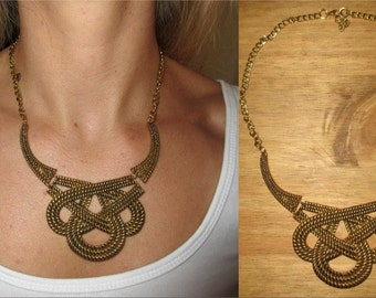 Rustic Gold Knot Necklace Statement Bib Vintage Chain Costume Jewellery Jewelry
