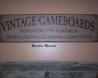 """Primitive~Vintage Wooden Sign~Vintage Gameboards Sign 9.25"""" x 32"""""""