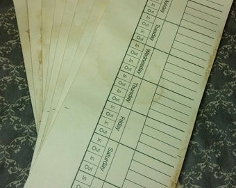 coffee stained time cards