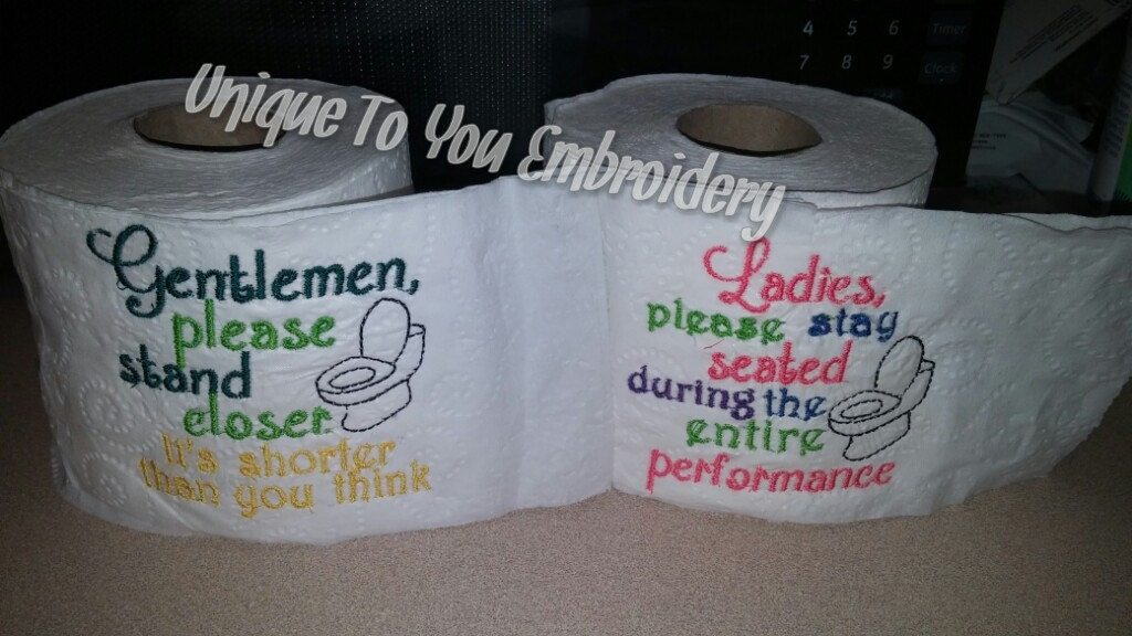 Embroidered toilet paper by unique2youembroidery on etsy for Design your own toilet paper