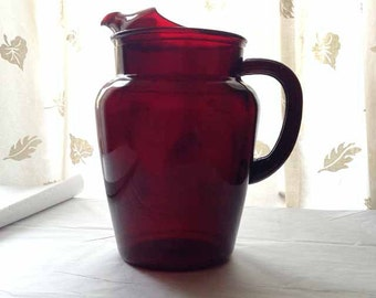 Vintage Ruby Red Pitcher Serving Pitcher - Vintage Ruby Pitcher