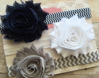 Baby Girl Headband Set, 3 Baby Headbands, Gift Set, Toddler Headband, Baby Shower gift, Shabby Chic Headband, Gray White Navy Blue Headbands