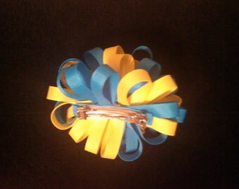 Bahama Blue and Yellow Poofy Hair Bow