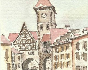 Landscape Architectural drawing - watercolor - print