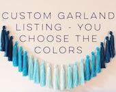 CUSTOM • tassel garland // yarn tassel garland, tassel banner, boho room decor, boho banner, OOAK tassel garland banner, nursery wall decor