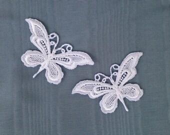 SALE! 5  Vintage venise lace applique, butterfly , sewing supplies, white venise applique, venise lace, laces and trims, headband trim,