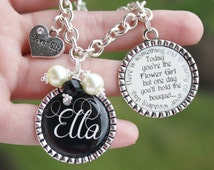 Personalized Flower Girl Gift Charm Bracelet unique keepsake sentimental Today you are young but soon you'll be grown quote color of choice