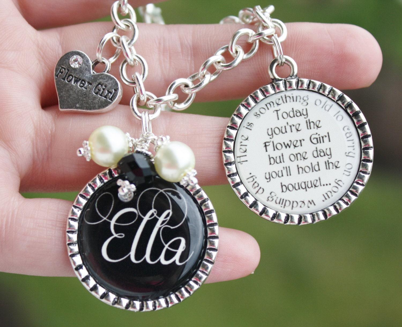 Flower Girl Gift Baskets : Personalized flower girl gift charm bracelet unique keepsake
