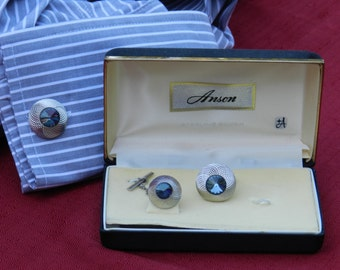 Vintage Anson Sterling Silver with Blue/Black Stones Cufflinks and Tie Tac Set                 00328