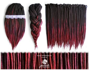 Wool dreadlocks- long, dark brown + maroon shades | CHOOSE AMOUNT in options