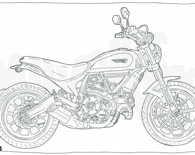 Adult Colouring Page - Motorcycle Illustration - Motorcycle Coloring - Ducati Scrambler