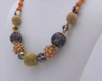 Orange, Purple and Gold Statement Necklace