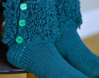 Knitted Teal Socks with ruffled ankle cuffs