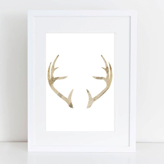 Deer antler wall art deer antlers striped by printsbyjettyhome for Antler wall decor