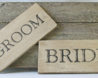 Bride and Groom Wooden Sign Set