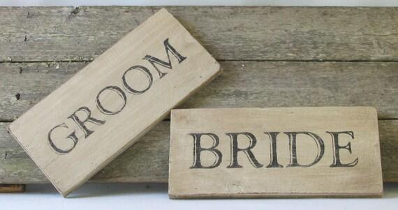 Bride and Groom Wooden Sign Set