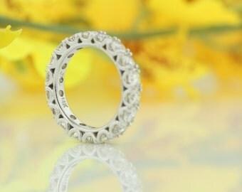 3.08ct U- Shaped  Full Diamond Eternity  Ring, 14kt White Gold Wedding Band, Round Diamonds Anniversary Ring