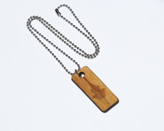 YOUR Custom Waveform Necklace Handmade with Personalized Soundwave engraved in wood on ball chain