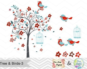 Digital Tree and Birds Clip Art Digital Red Blue Blossom Tree Clipart Red Blue Birds Clipart Wedding Invitation Valentines Clipart 0145