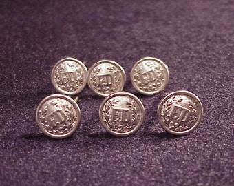 Lot of 6 Fire Department FD Silver Tone Uniform Buttons, Collectable, Cufflinks Material, Craft, Art Project, Vintage Sewing