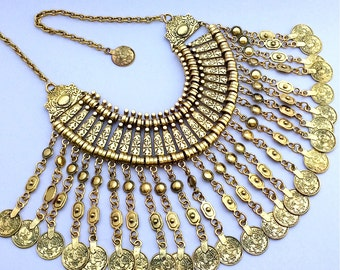 Gypsy Traveller Necklace - Gold Turkish Coin Necklace