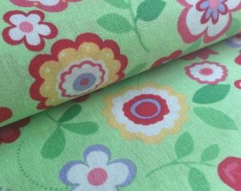 Flower Sugar Garden Flowers GREEN Lecien Fabric