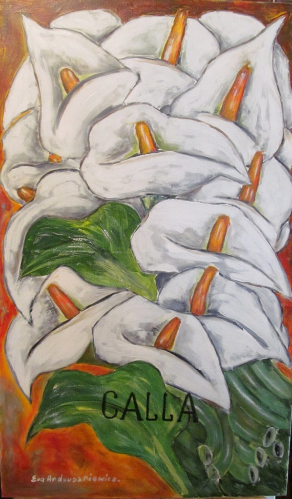 Callas. Flawers oil painting.   Oil painting original. large oil painting, canvas painting.  .colours; white, orange, green. ready to ship
