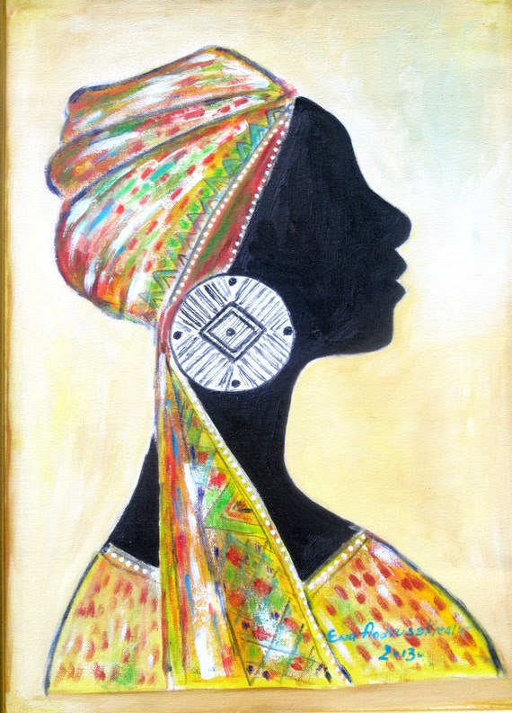 African woman 2 . Ethnic art,canvas painting. Oil painting. Canvas oil. Colours; black, white, orange, yellow, blue. ready to ship