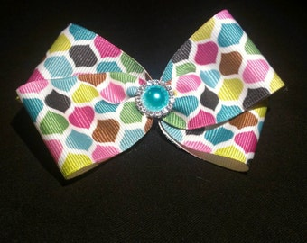 Geometric multi color hair bow with jewel