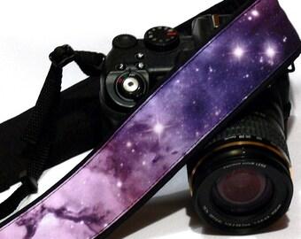 Cosmos Camera Strap. Galaxy Accessories. DSLR Camera Strap. Galaxy Camera Strap. Black Purple Violet Camera Strap. Camera Accessories