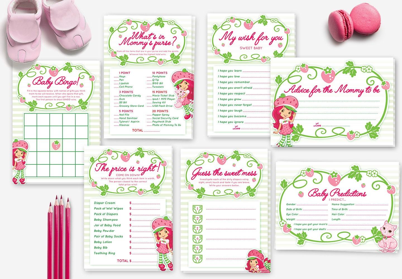 strawberry shortcake baby shower game set bingo by redheadinvites