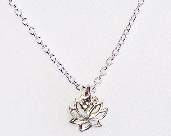 SALE 10.00 DELICATE Lotus Necklace * Minimal * Great for Layering * STERLING Silver