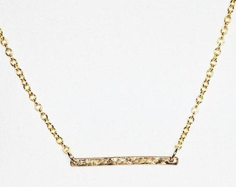 14k Gold Filled Horizontal HAMMERED BAR Pendant Necklace * Simple, Minimal * Delicate, Dainty * Perfect for Layering