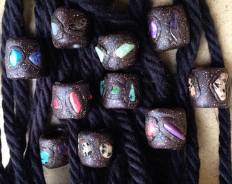 Shimmery Gray Rocky Graphite With Precious Gem Stones Crystals Dread Loc Bead