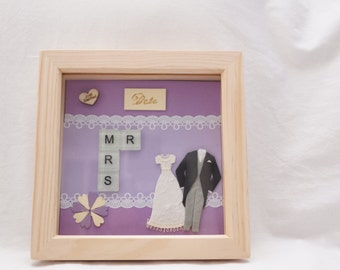 Handmade Mr and Mrs tile frame