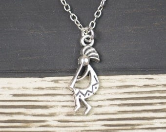 kokopelli necklace, silver flute player charm on silver plated chain, kokopelli dancer, boho chic, motherhood, fertility necklace, new mom