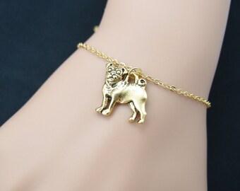 pug bracelet, gold filled, gold filled, gold pug dog charm on gold chain, puppy bracelet, dog lover, memory dog memorial,adjustable bracelet